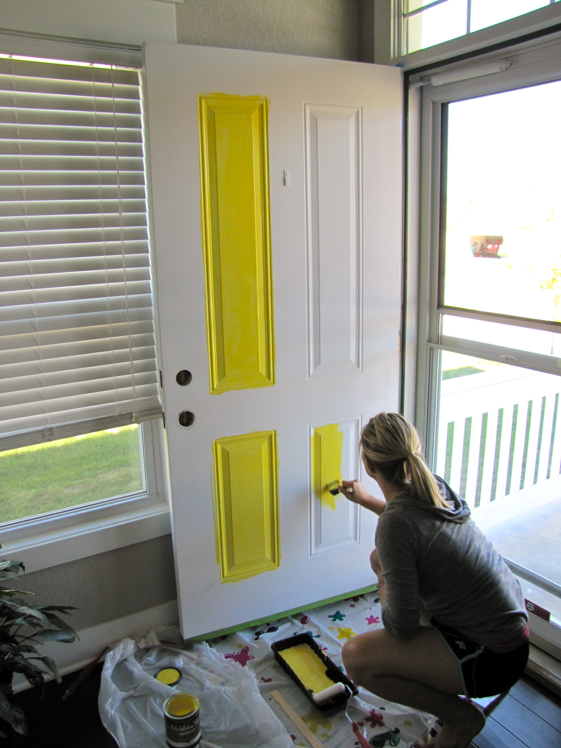 yellow front door feathering our nest. Black Bedroom Furniture Sets. Home Design Ideas