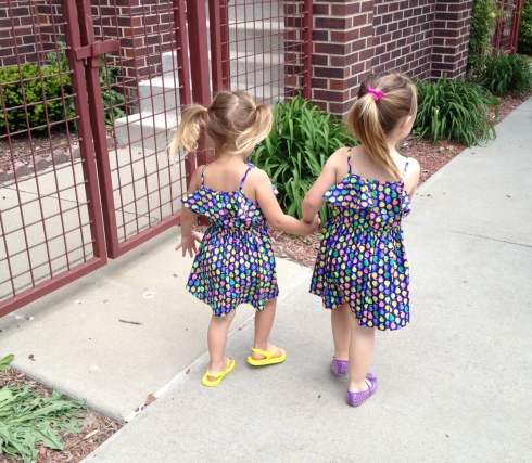 Heading to Sesame Street Live - wearing matching dresses with her bestie (Not even planned!)